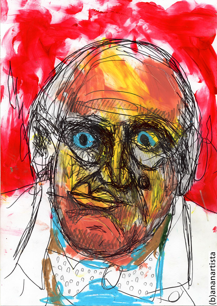 ALEISTER CROWLEY drawing painting and esoteric portrait contemporary artwork by (b)ananartista sbuff © 2015 all rights reserved