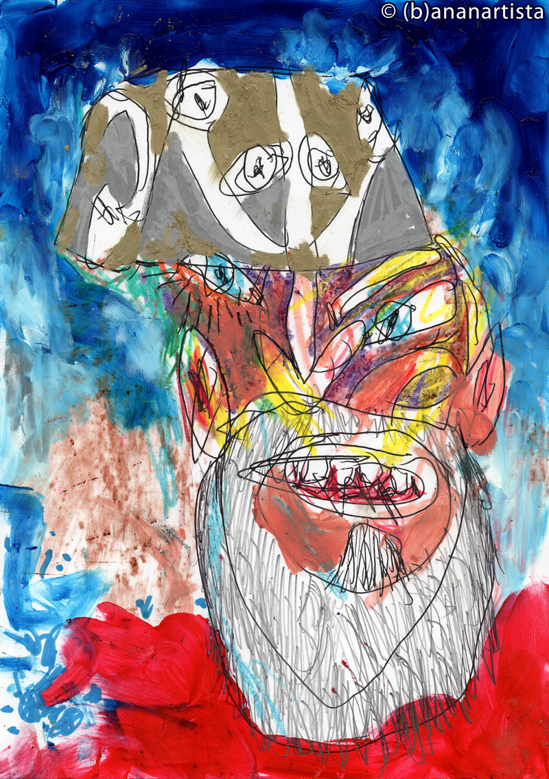 SELF-PORTRAIT WITH BEARD AND HAT painting by (b)ananartista sbuff © 2015 all rights reserved