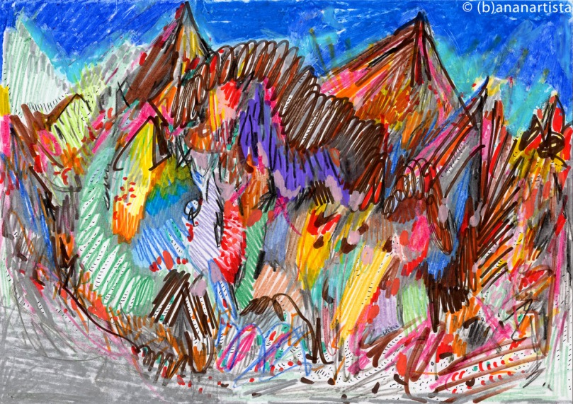 A PANORAMIC VIEW OF MONT BLANC mixed media painting collage by (b)ananartista sbuff © 2015 all rights reserved