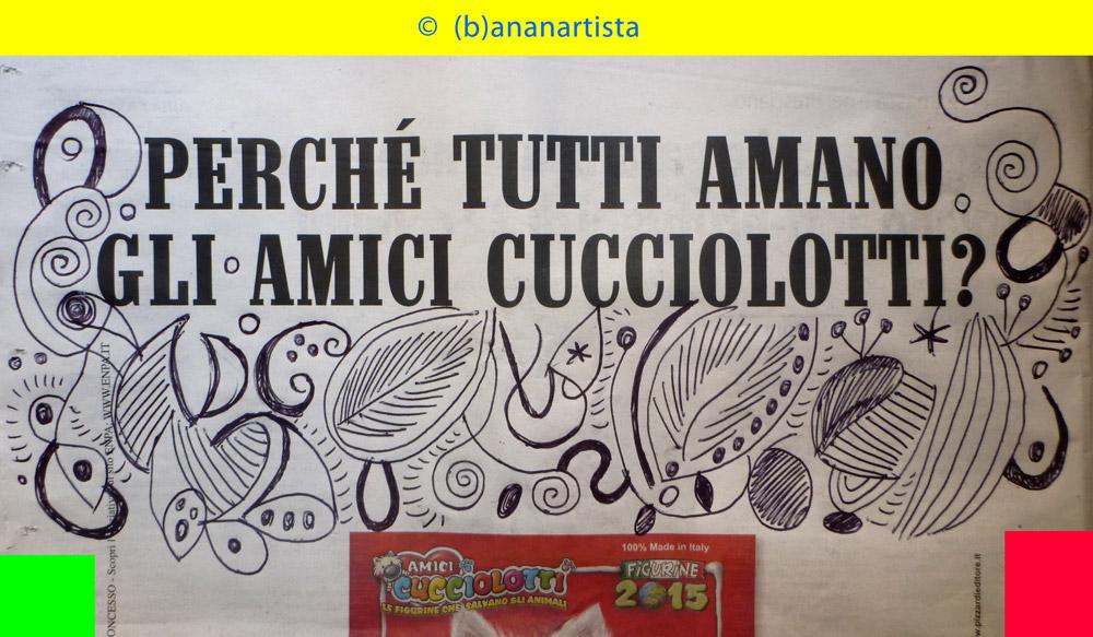 TUTTI AMANO GLI AMICI CUCCIOLOTTI paper art by (b)ananartista sbuff © 2016 all rights reserved