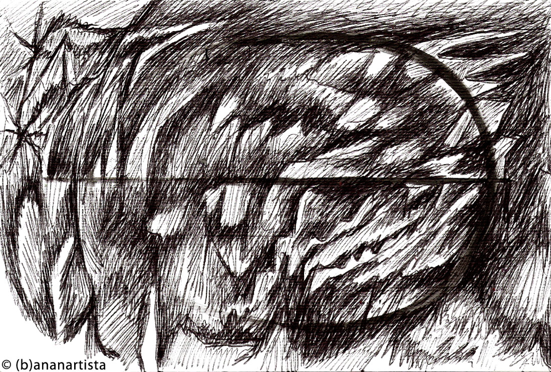 STURM UND DRANG abstract drawing by (b)ananartista sbuff © 2016 all rights reserved