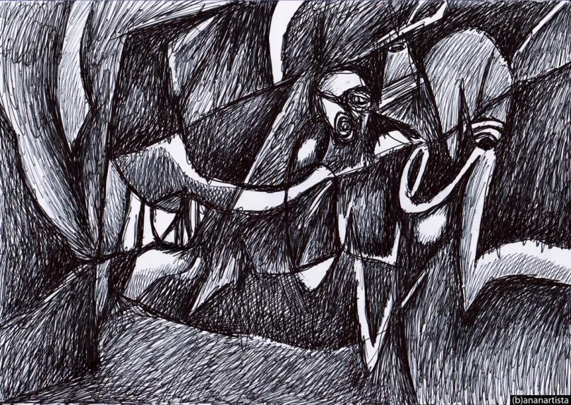 Pegasus Verme - disegno astratto di (b)ananartista SBUFF