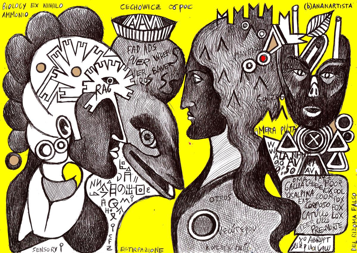 Eneide: outsider pen drawing illustration art portrait by (b)ananartista sbuff