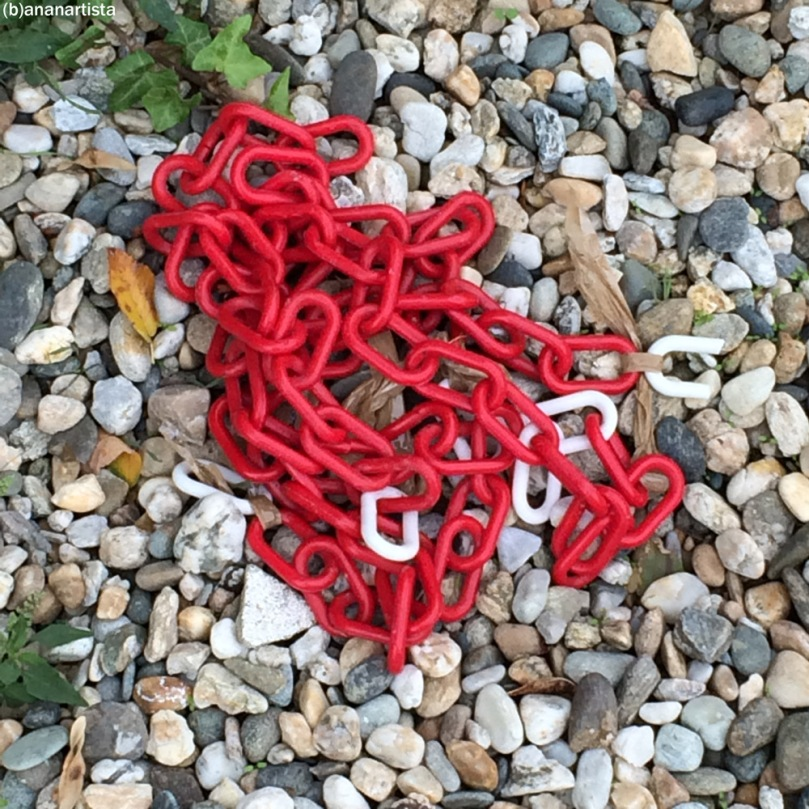 red chain on gravel: minimal travel photography art by (b)ananartista sbuff