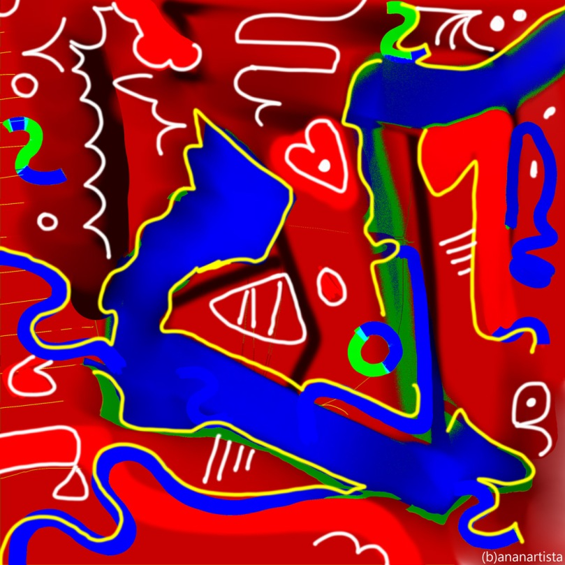 the shape of my heart: digital abstract red art by (b)ananartista sbuff