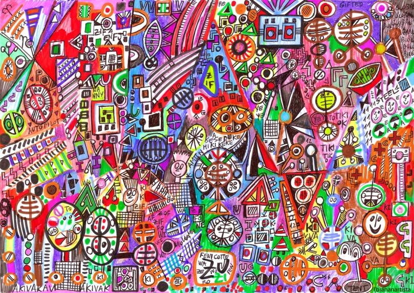 amun eskimo tiki: abstract painting by (b)ananartista sbuff