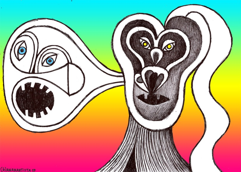 extroflexion of the beloved: drawing by (b)ananartista sbuff