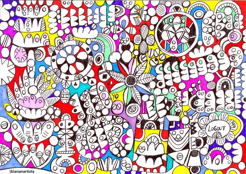 flower power: psychedelic drawing by (b)ananartista sbuff