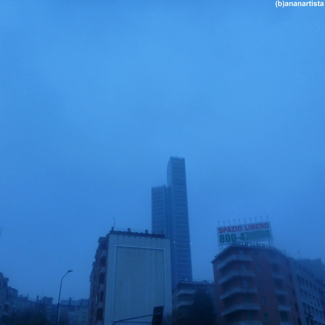 blue city sky in winter