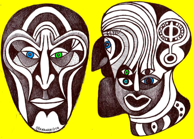 my illogical fractal twin peaks faces : drawing by (b)ananartista sbuff