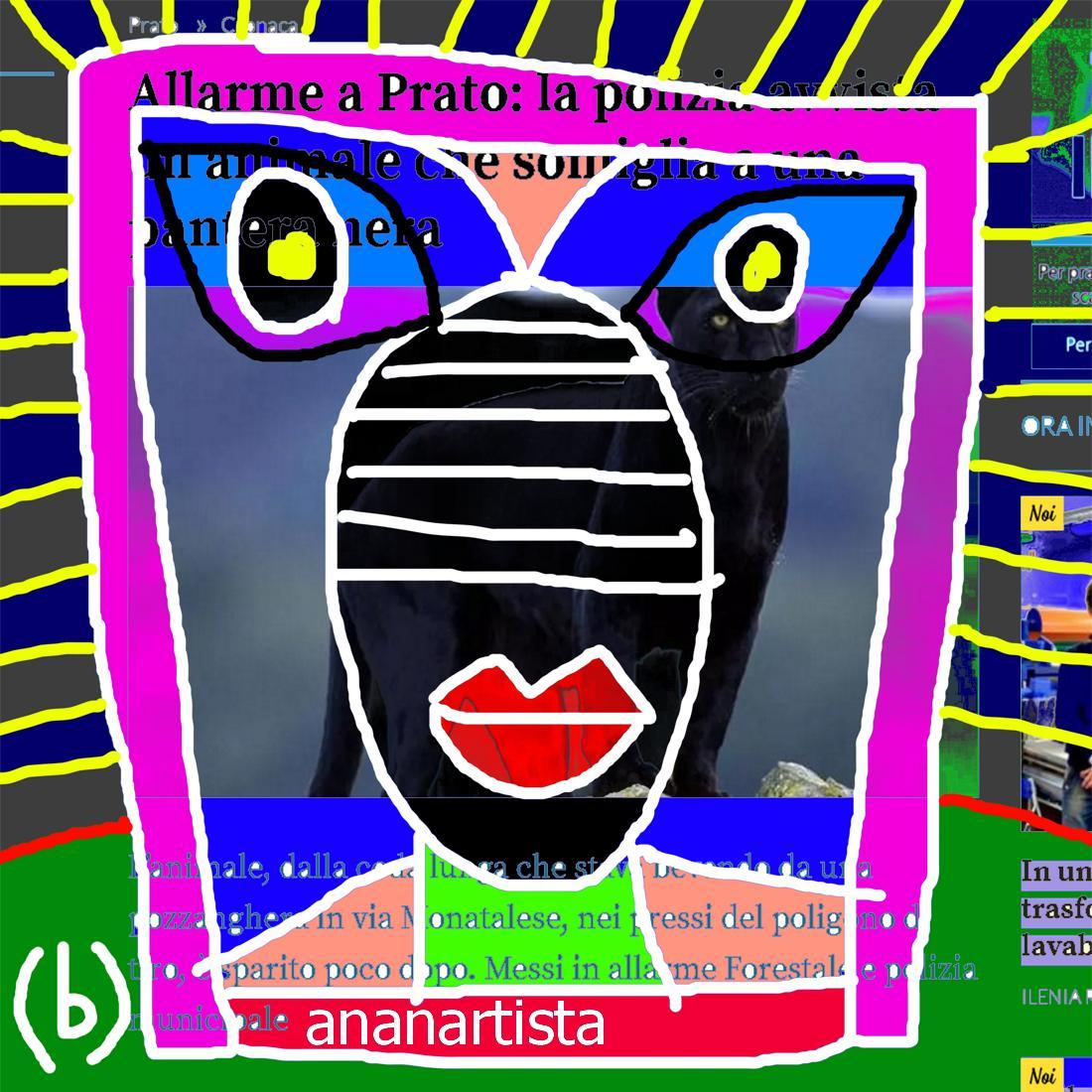 allarme a prato pantera nera - collage artistico di (b)ananartista sbuff