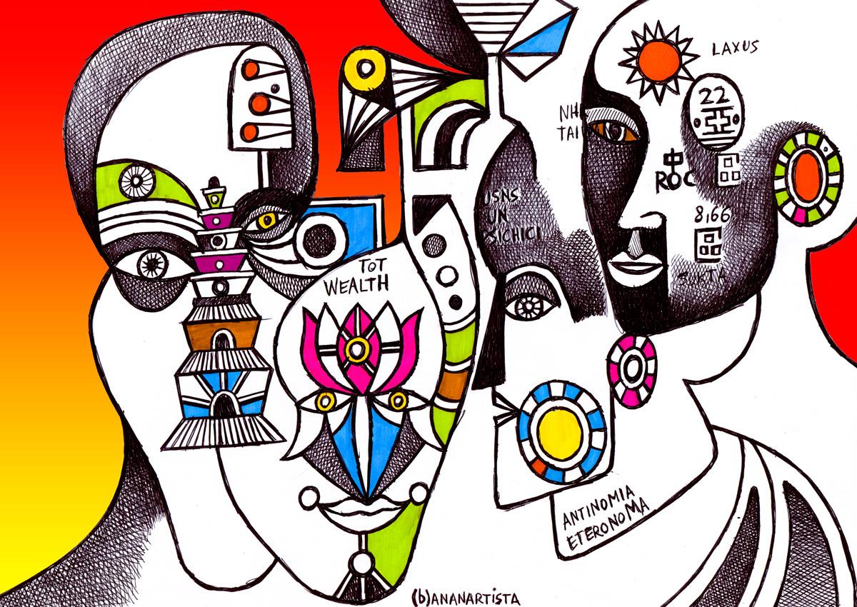 lord brahma with hindu goddesses : illustration art by (b)ananartista sbuff