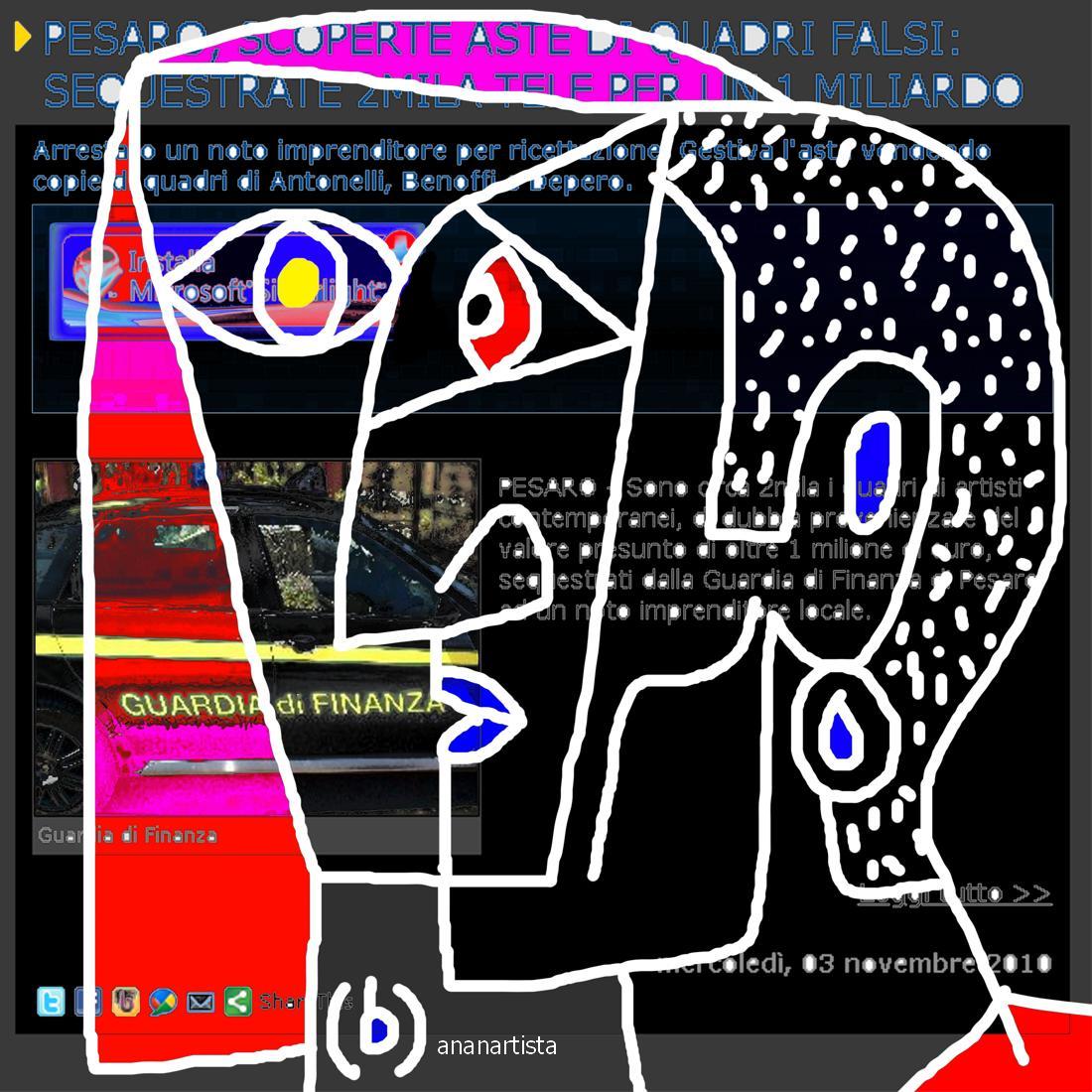 aste di quadri falsi - dipinto digitale di (b)ananartista sbuff