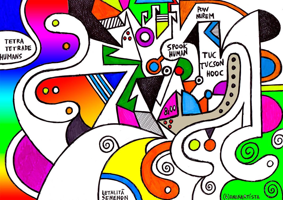 spooky human pow wow - geometric drawing by (b)ananartista sbuff