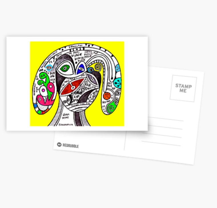 pappi visage the hypocrite visionary artwork by (b)ananartista sbuff redbubble postcard cartolina