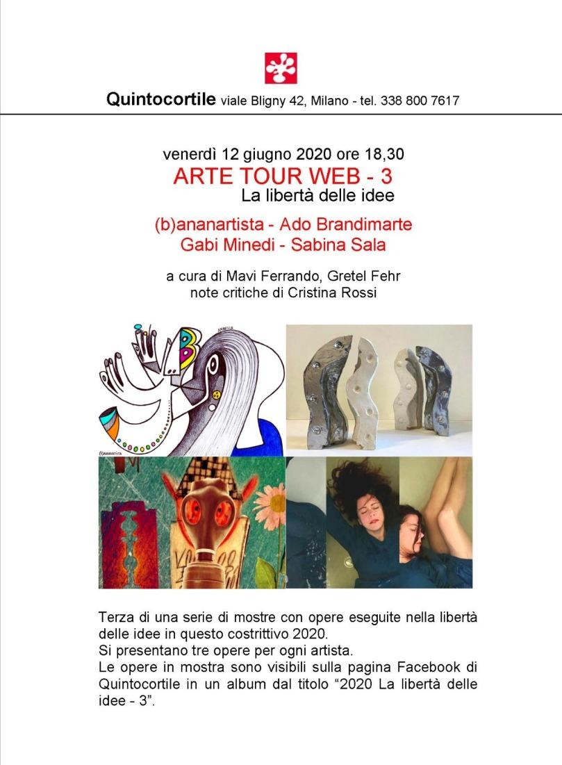 arte tour web quintocortile (b)ananartista brandimarte minedi sala gretel fehr libertà idee mostra pagina facebook