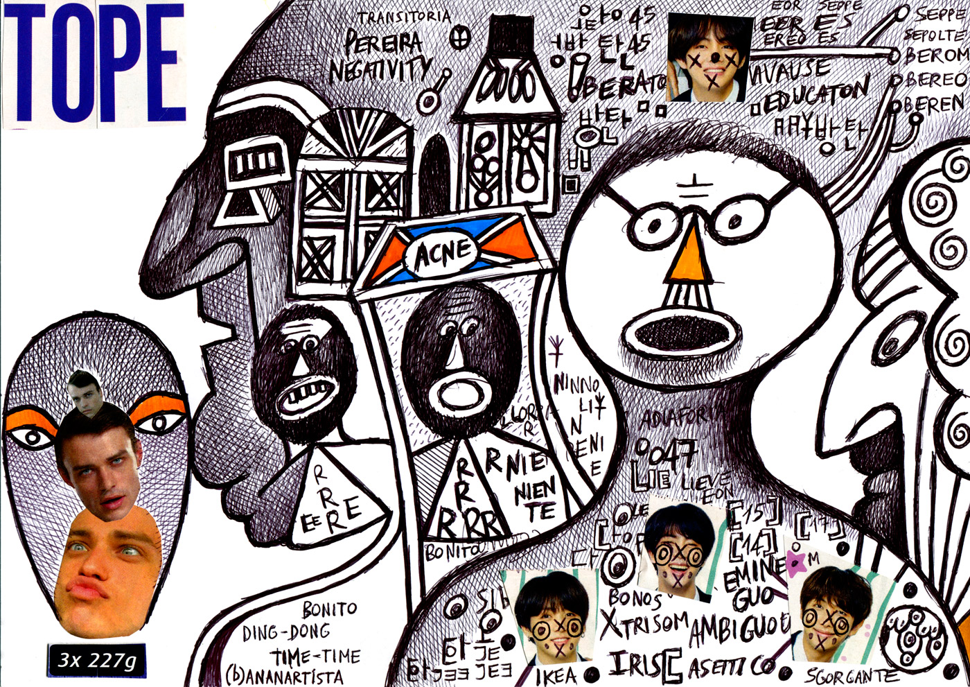 TOPE 3 x 227 - Pereira Negativity Acne - original drawing collage (b)ananartista sbuff