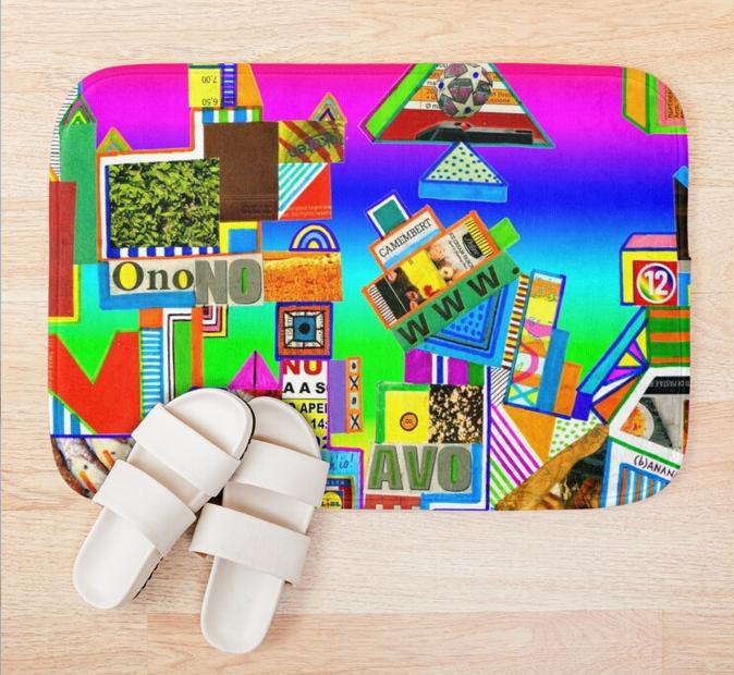 redbubble (b)ananartista contro onono avoffe abstract collage bath mat shop tappetino da bagno
