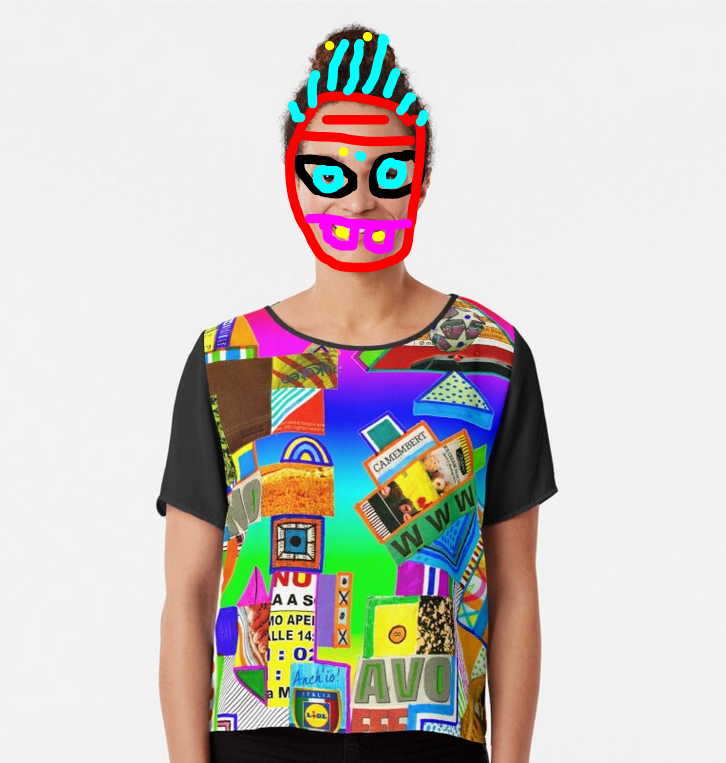 redbubble (b)ananartista contro onono avoffe abstract collage chiffon top shop maglietta