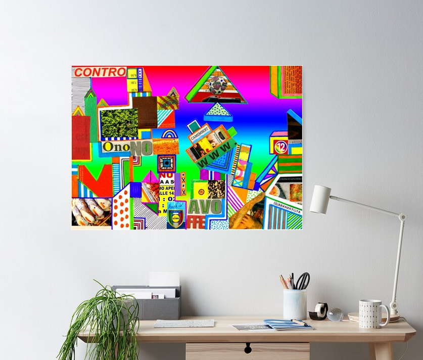 redbubble (b)ananartista contro onono avoffe abstract collage poster medium shop