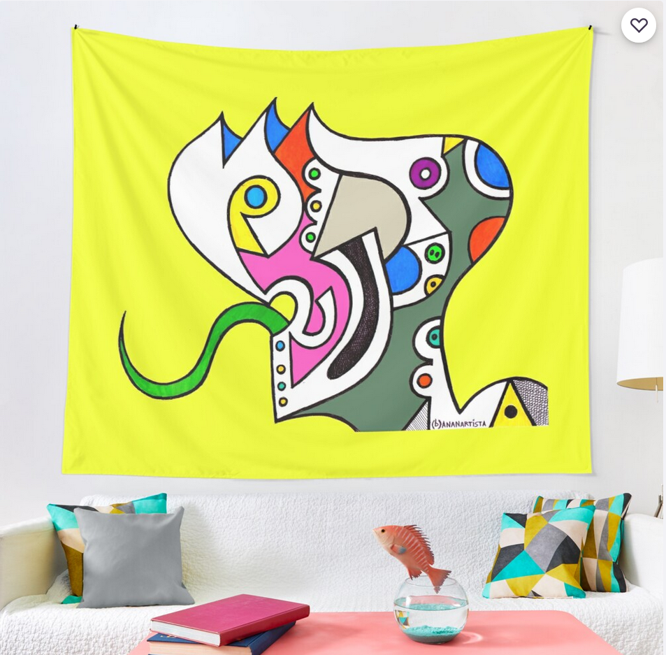 redbubble (b)ananartista reptilian humanoid illustration tapestry arazzo shop