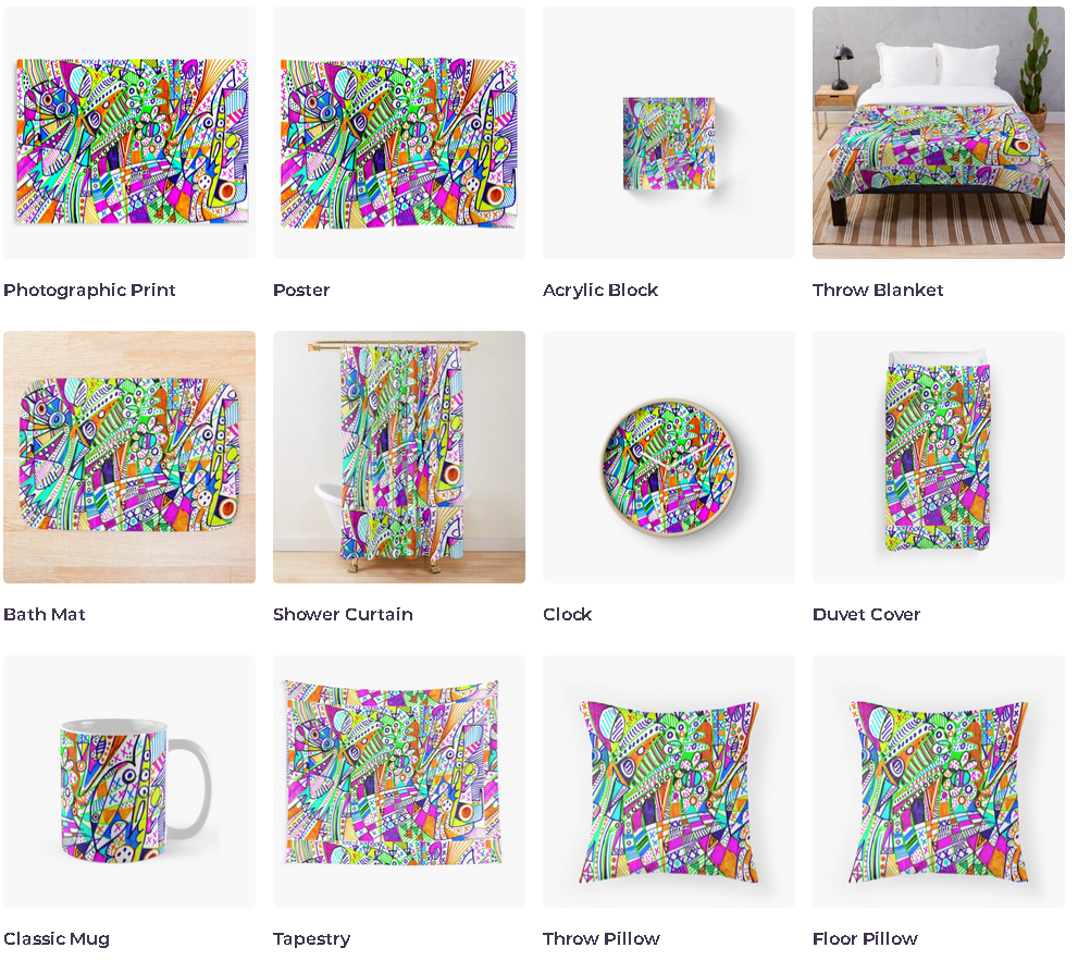 redbubble (b)ananartista ubiquitous szinezett heresy print poster acrylic blanket bath mat curtain clock duvet mug tapestry pillow shop art