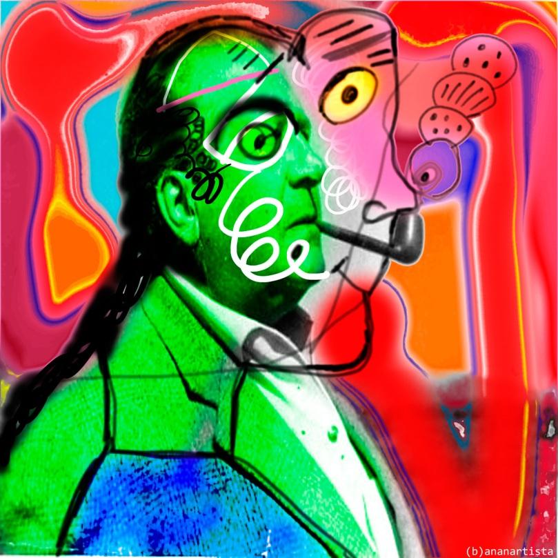 Stéphane Lupasco collage art by (b)ananartista sbuff