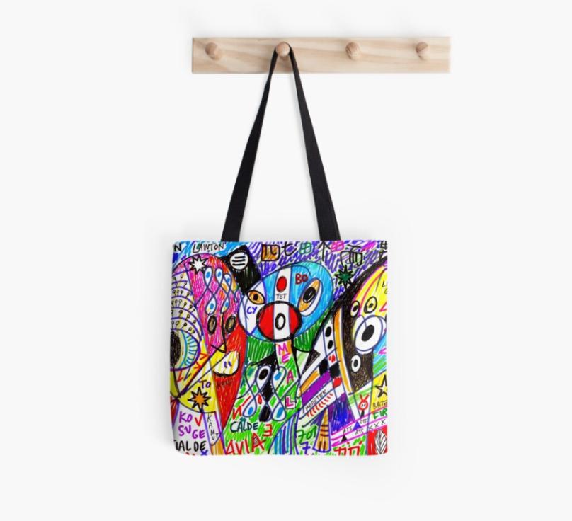 (b)ananartista redbubble cialde calde visionary artwork tote bag borsa art shop