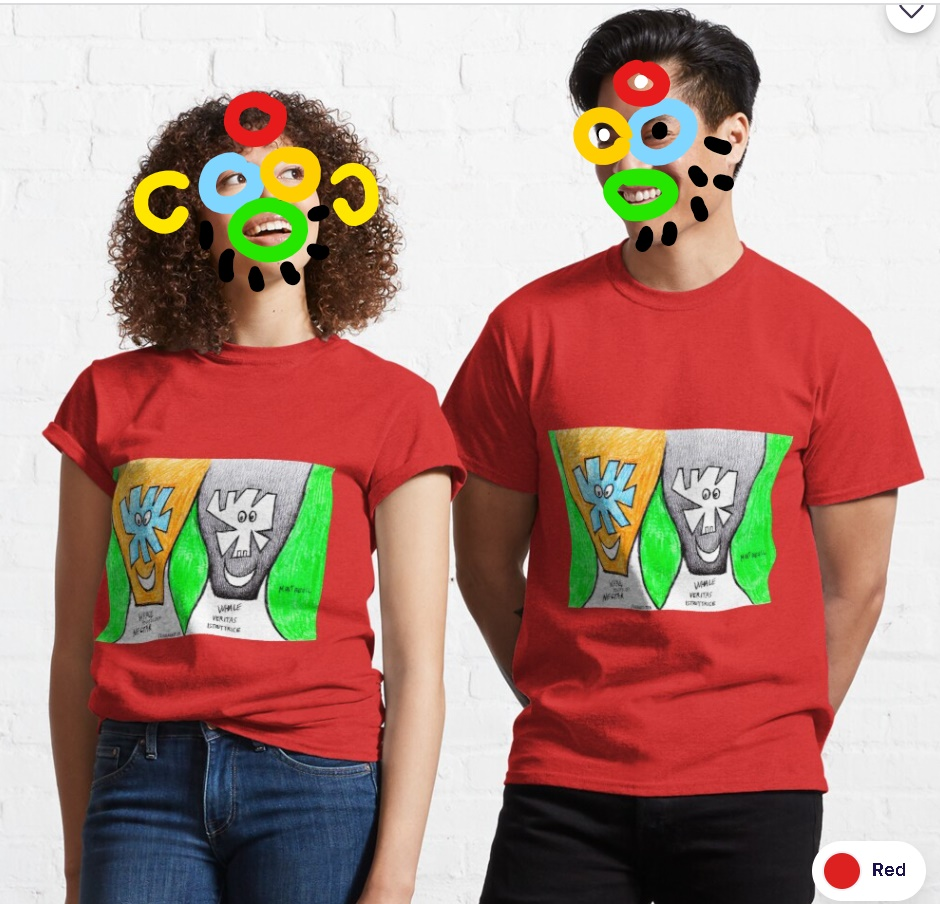 (b)ananartista redbubble smiling couple original artwork classic t-shirt art shop models