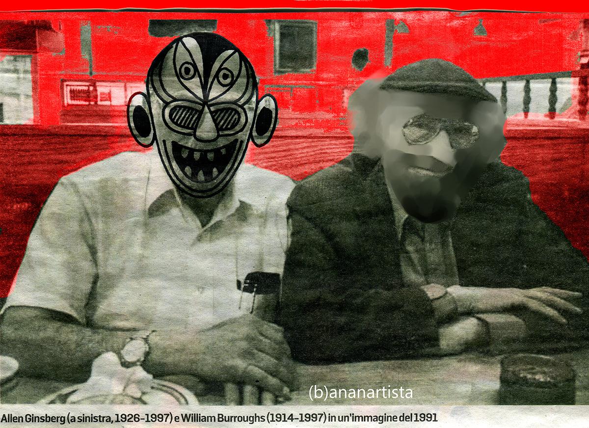 allen ginsberg e william burroughs in un'immagine del 1991 di (b)ananartista sbuff