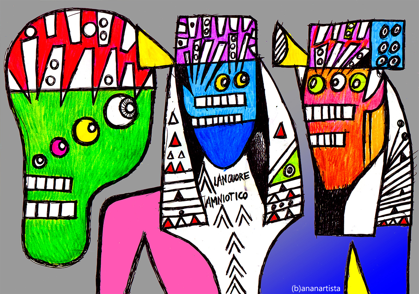 Thoth as a baboon with two Pharaohs illustration by (b)ananartista sbuff
