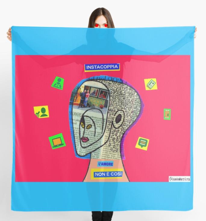 redbubble (b)ananartista instacoppia amore così instagram art collage scarf shop sciarpa collage