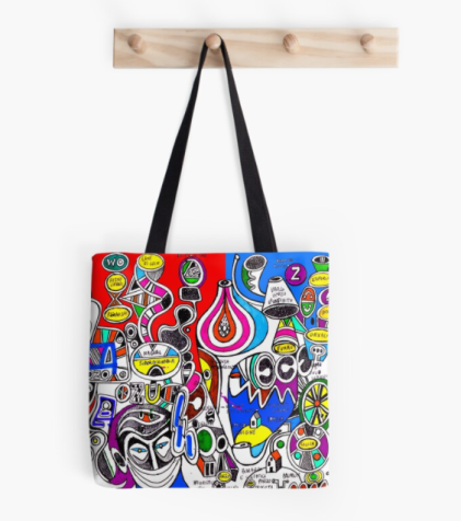 redbubble (b)ananartista super consciousness original artwork tote bag all over print art shop small