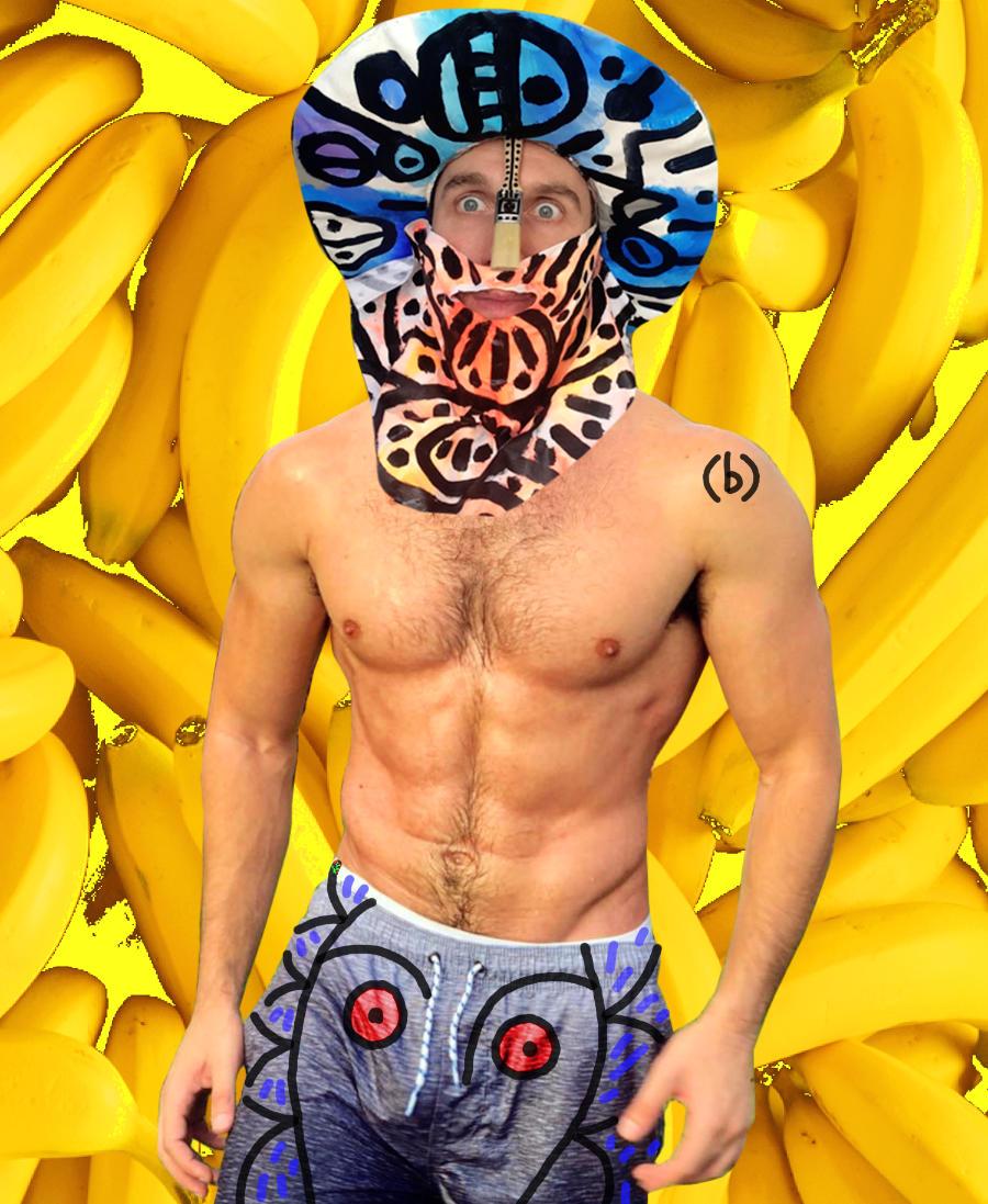 autoritratto muscoloso con banane by (b)ananartista sbuff